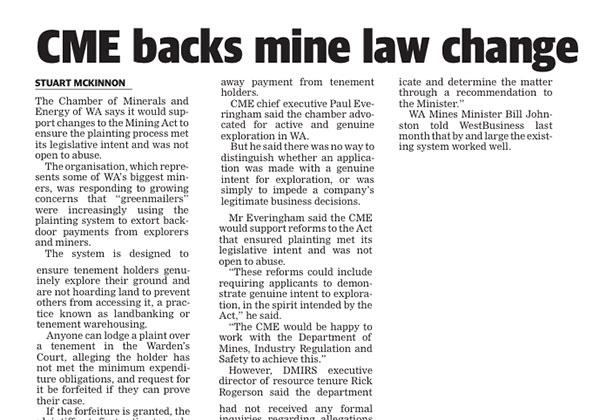 CME backs mine law change - West Australian