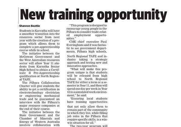 New training opportunity - Pilbara News