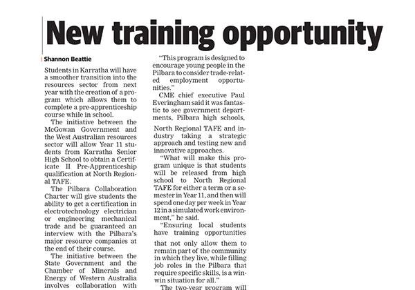 New training opportunity - Pilbara News