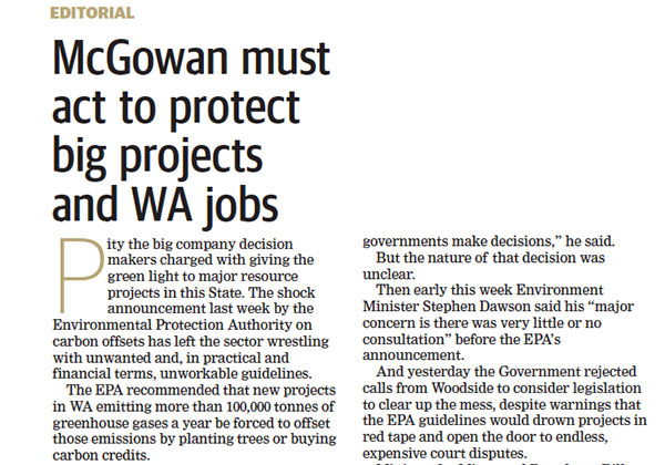 Protect big projects and WA jobs - West Australian