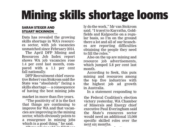 Mining skills shortage - West Australian