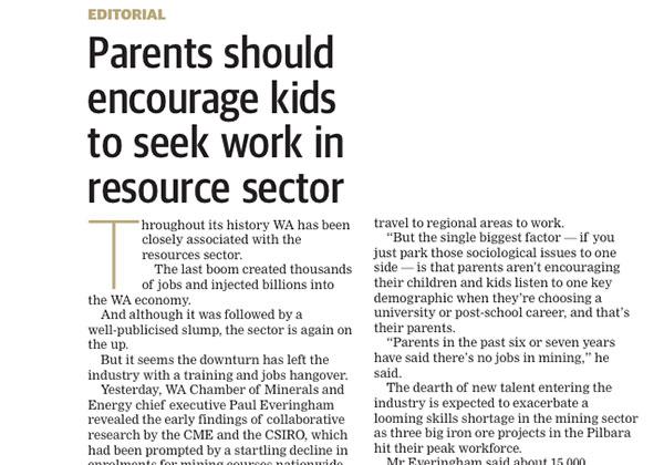 Encourage kids to work in resources - West Australian
