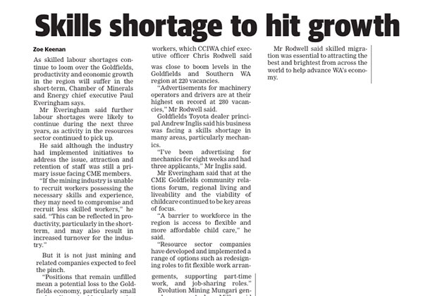 Skill shortage to hit growth - Kal Miner
