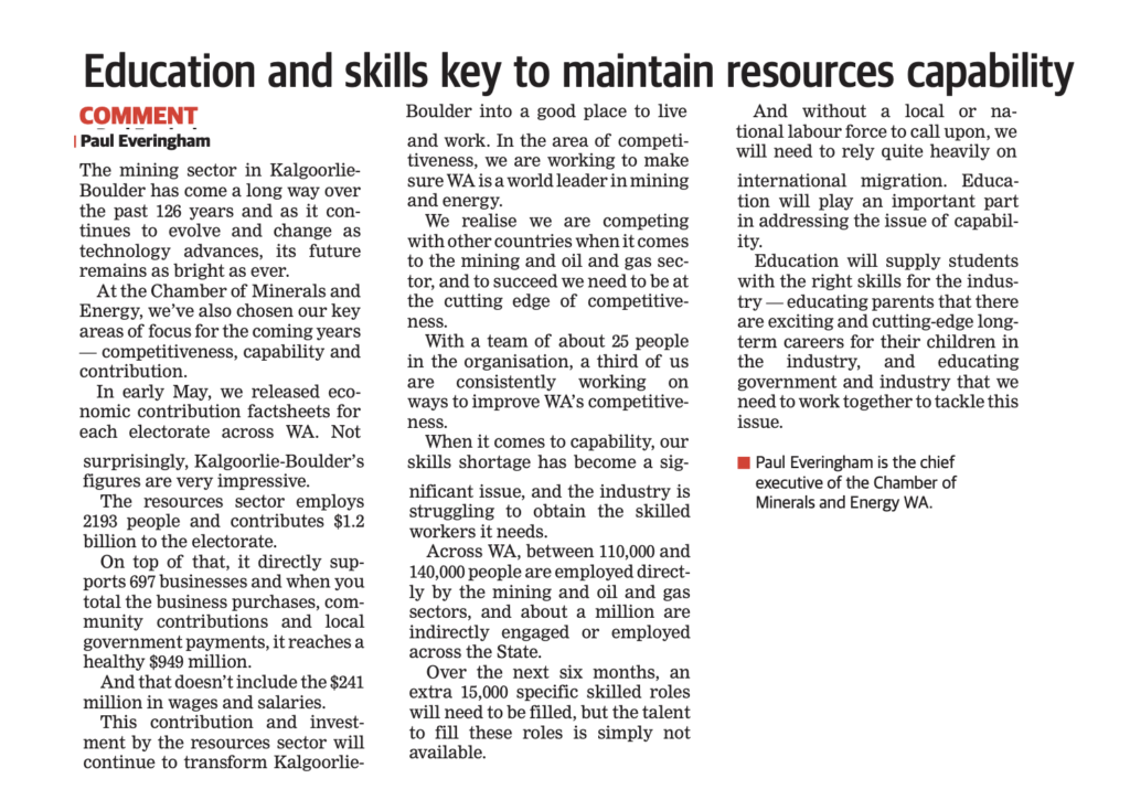 Education and skills key to maintain resources capability