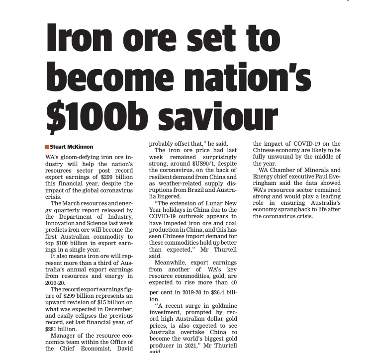 Iron ore set to become nation's $100b saviour