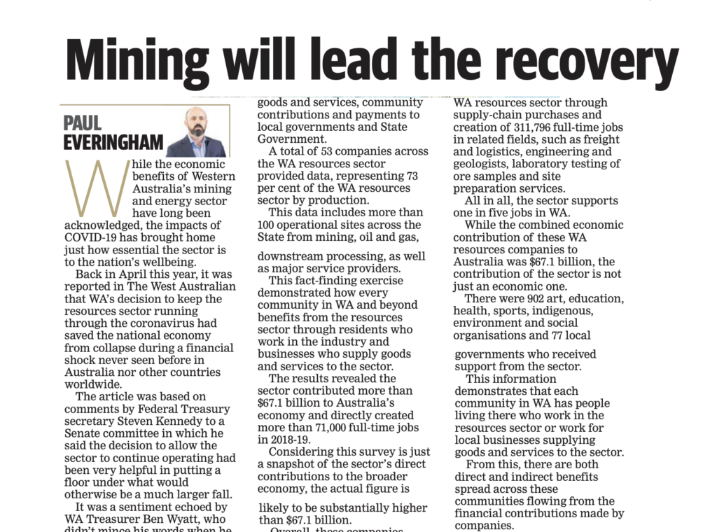 Mining will lead WA and Australia's economic recovery