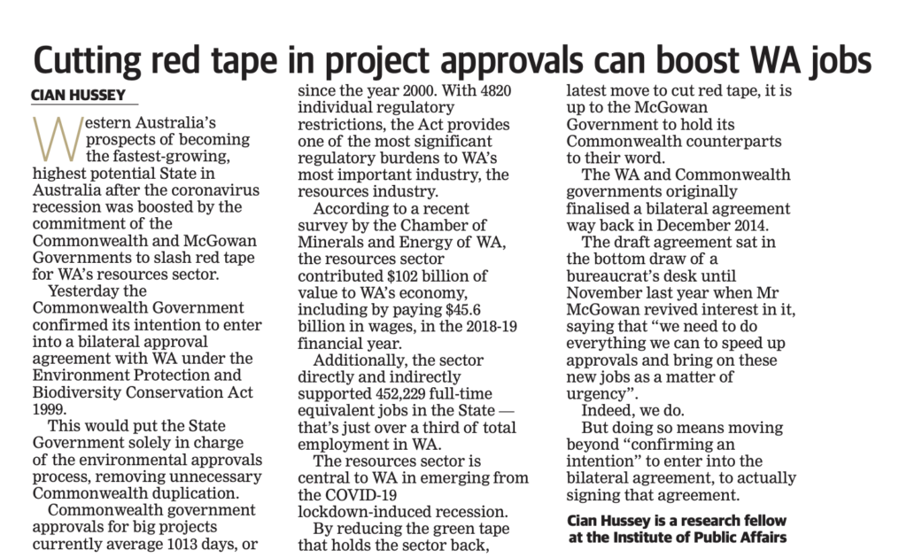 Cutting red tape in project approvals can boost WA jobs