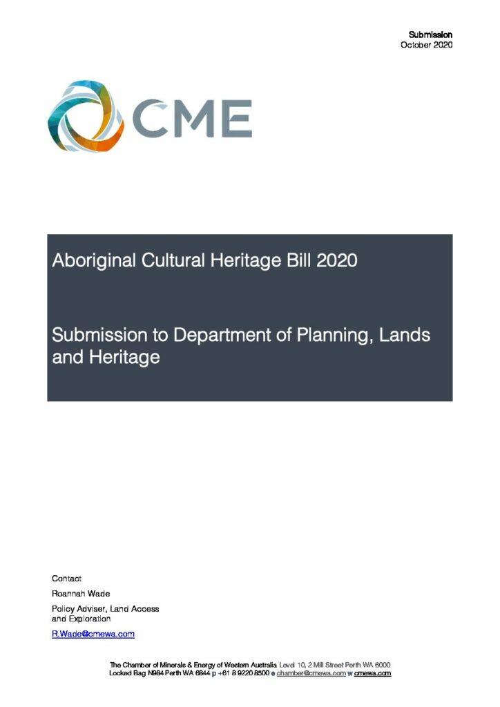Aboriginal Cultural Heritage Bill 2020