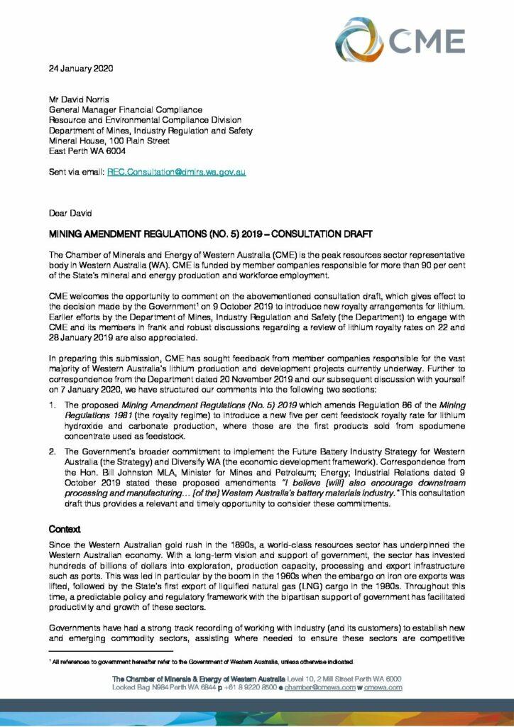 Response to Mining Amendment Regulations No. 5 (lithium feedstock royalty rate)