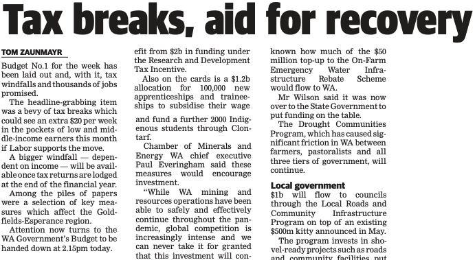 Tax breaks, aid for recovery